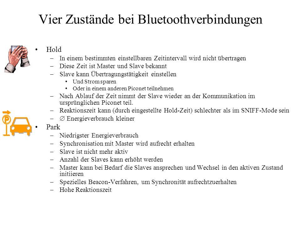 Vier Zustände bei Bluetoothverbindungen