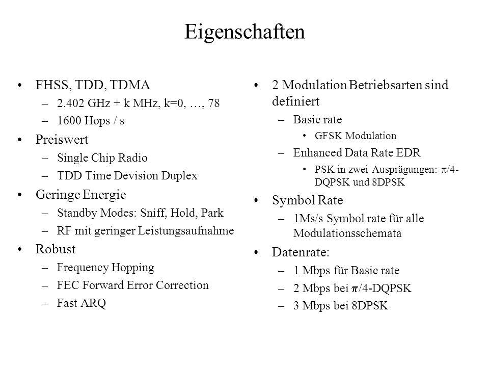 Eigenschaften FHSS, TDD, TDMA Preiswert Geringe Energie Robust