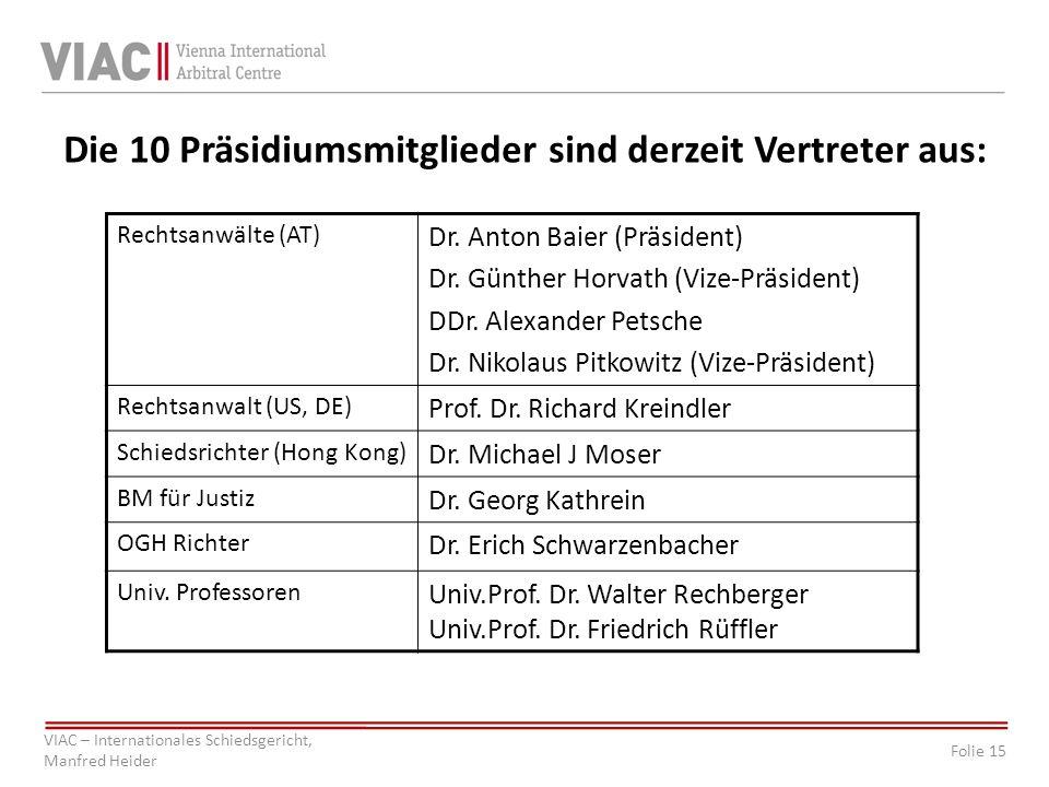 Die 10 Präsidiumsmitglieder sind derzeit Vertreter aus: