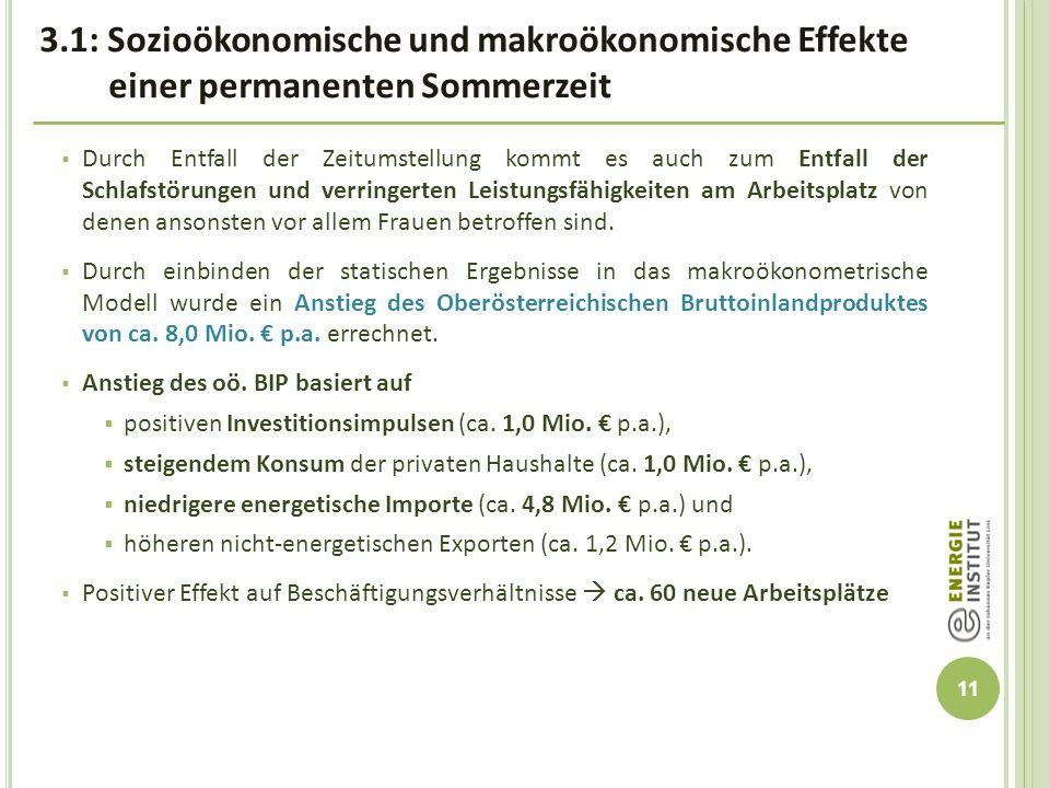 3.1: Sozioökonomische und makroökonomische Effekte einer permanenten Sommerzeit