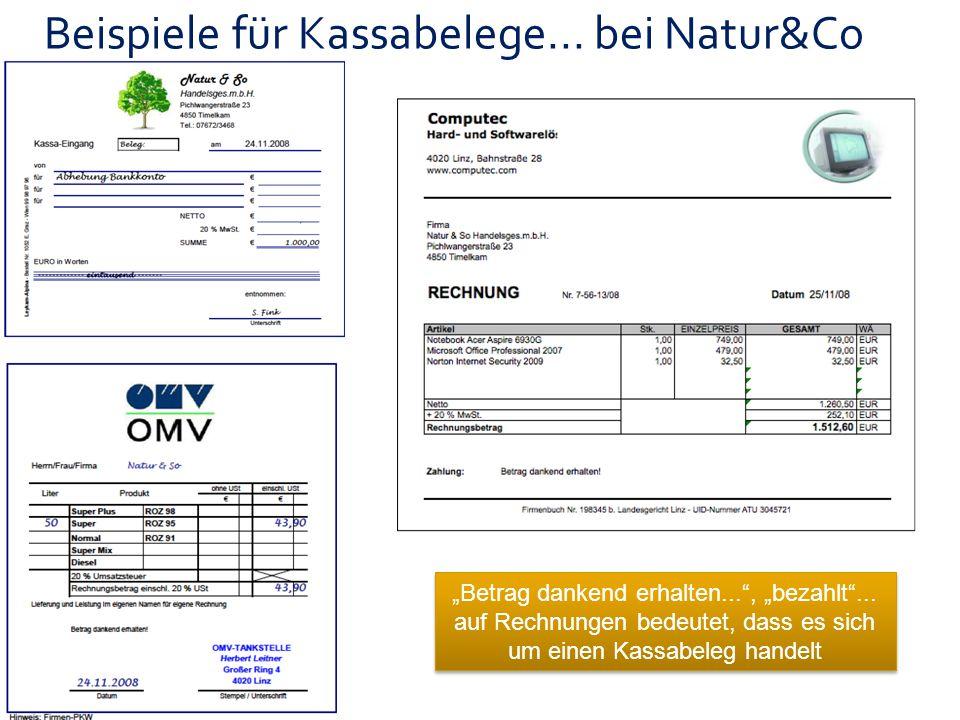 Beispiele für Kassabelege... bei Natur&Co
