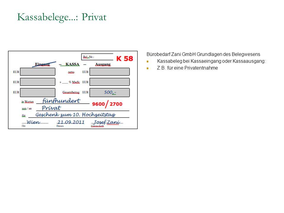 Kassabelege...: Privat Bürobedarf Zani GmbH Grundlagen des Belegwesens