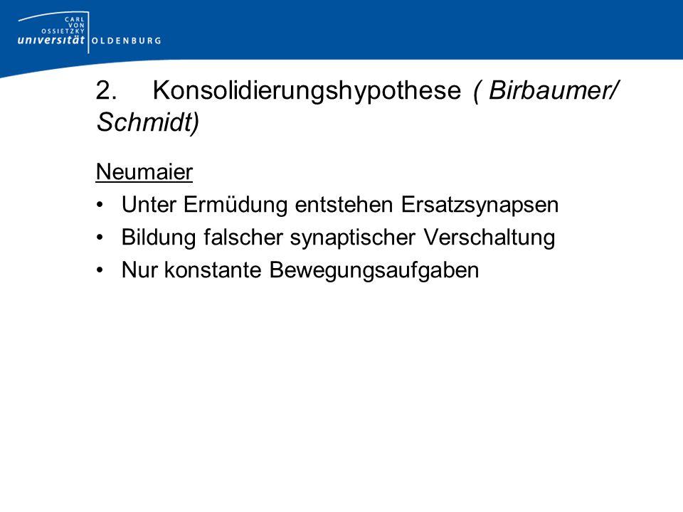 2. Konsolidierungshypothese ( Birbaumer/ Schmidt)