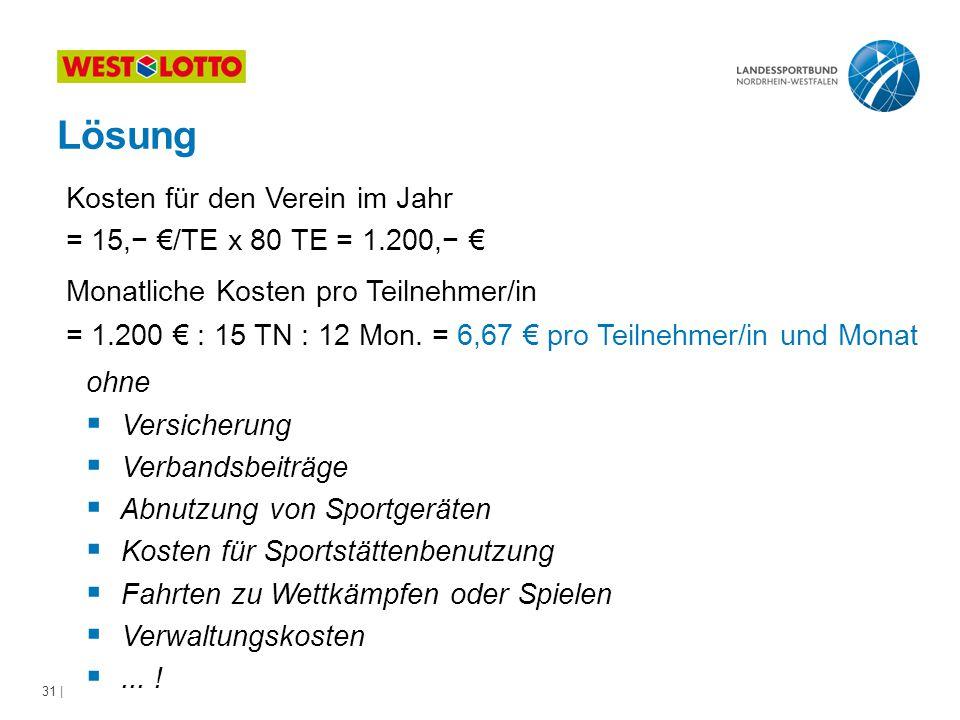 Lösung Kosten für den Verein im Jahr = 15,− €/TE x 80 TE = 1.200,− €