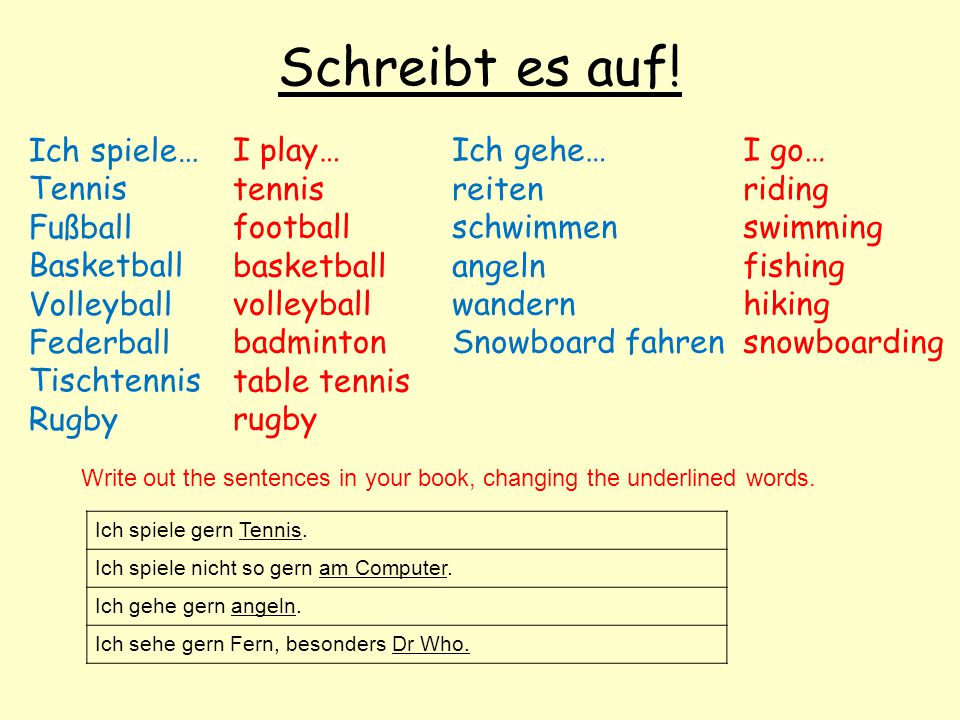 Schreibt es auf! I play… tennis football basketball volleyball