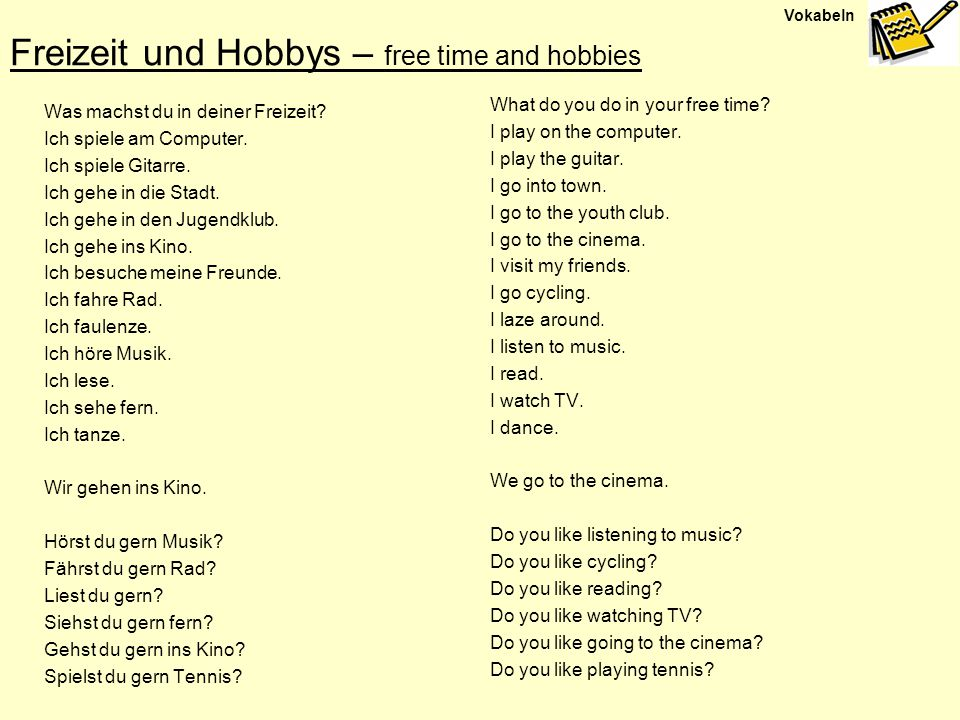 Freizeit und Hobbys – free time and hobbies