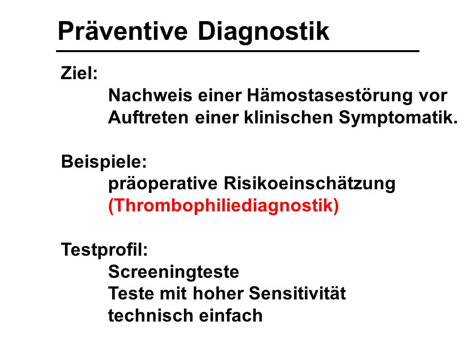 Präventive Diagnostik