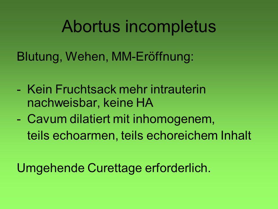 Abortus incompletus Blutung, Wehen, MM-Eröffnung: