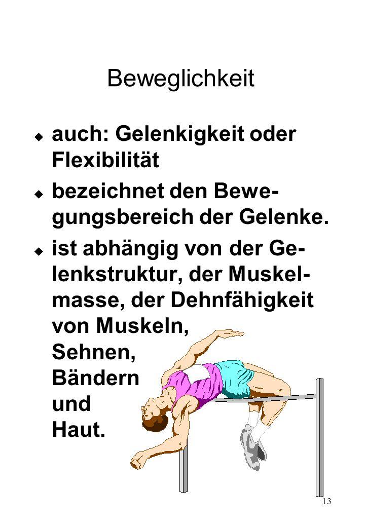 Beweglichkeit auch: Gelenkigkeit oder Flexibilität