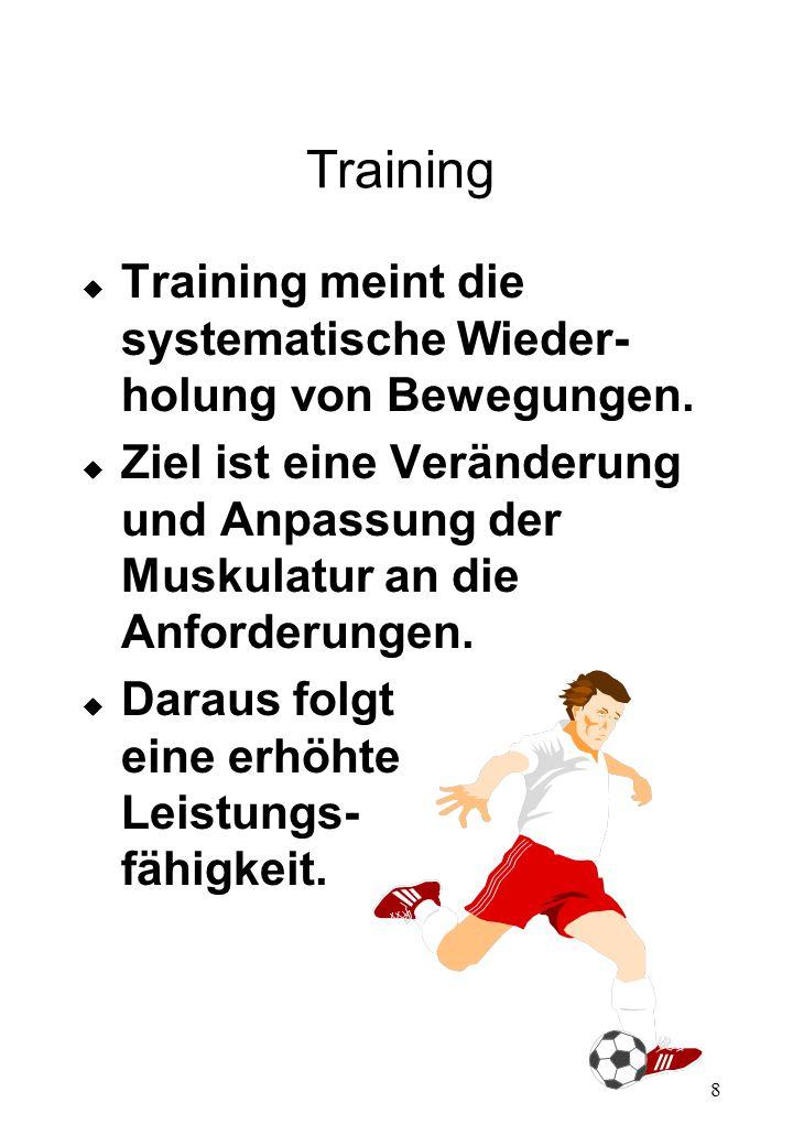 Training Training meint die systematische Wieder-holung von Bewegungen. Ziel ist eine Veränderung und Anpassung der Muskulatur an die Anforderungen.