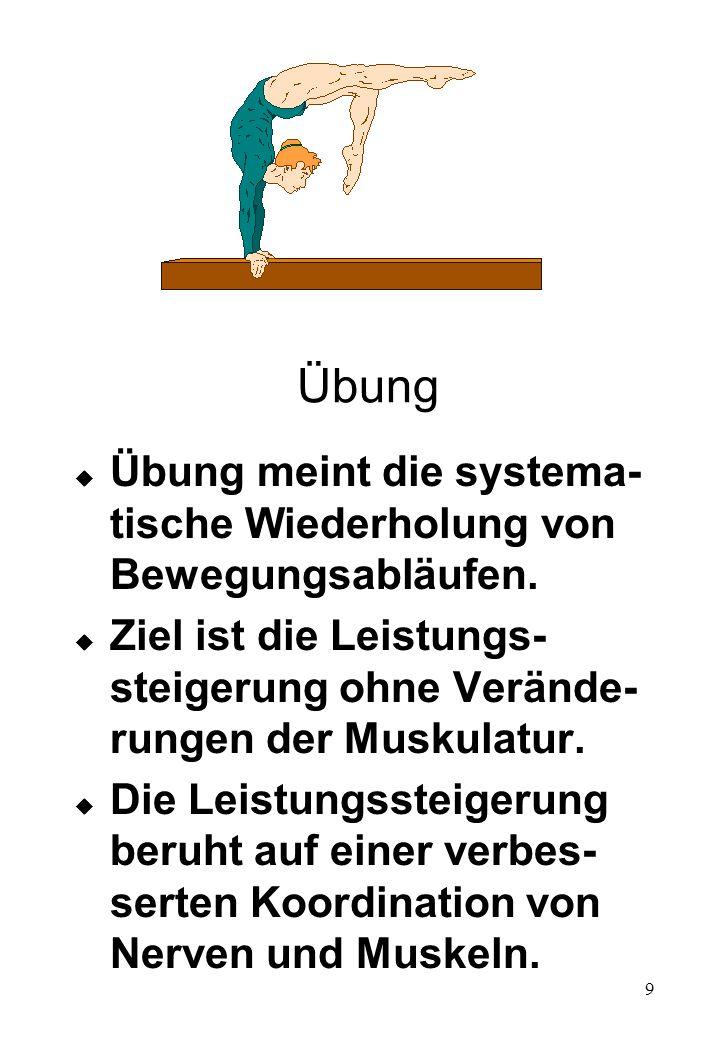 Übung Übung meint die systema-tische Wiederholung von Bewegungsabläufen. Ziel ist die Leistungs-steigerung ohne Verände-rungen der Muskulatur.
