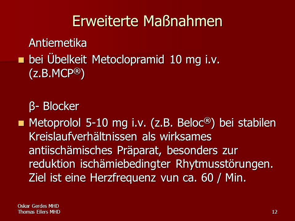 Erweiterte Maßnahmen Antiemetika