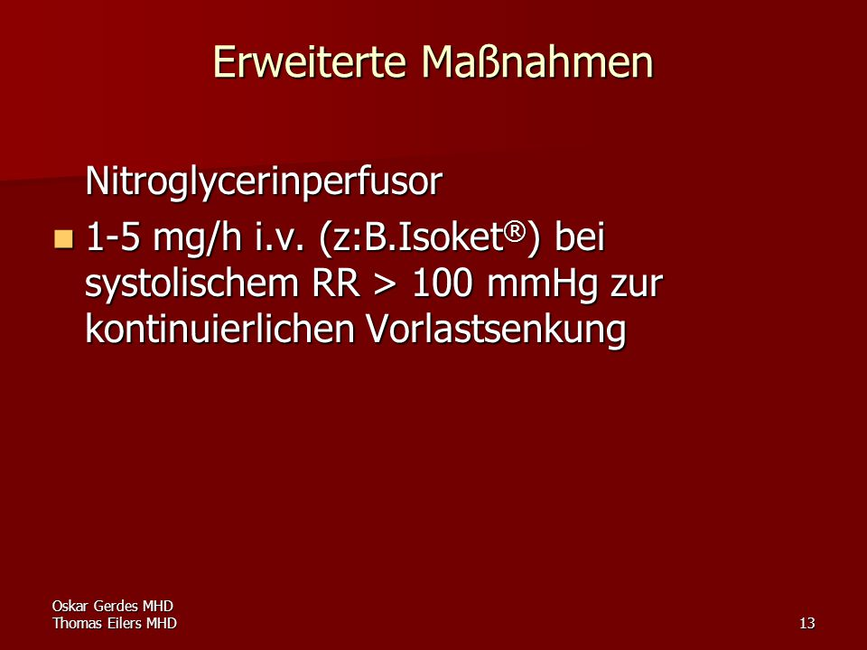Erweiterte Maßnahmen Nitroglycerinperfusor