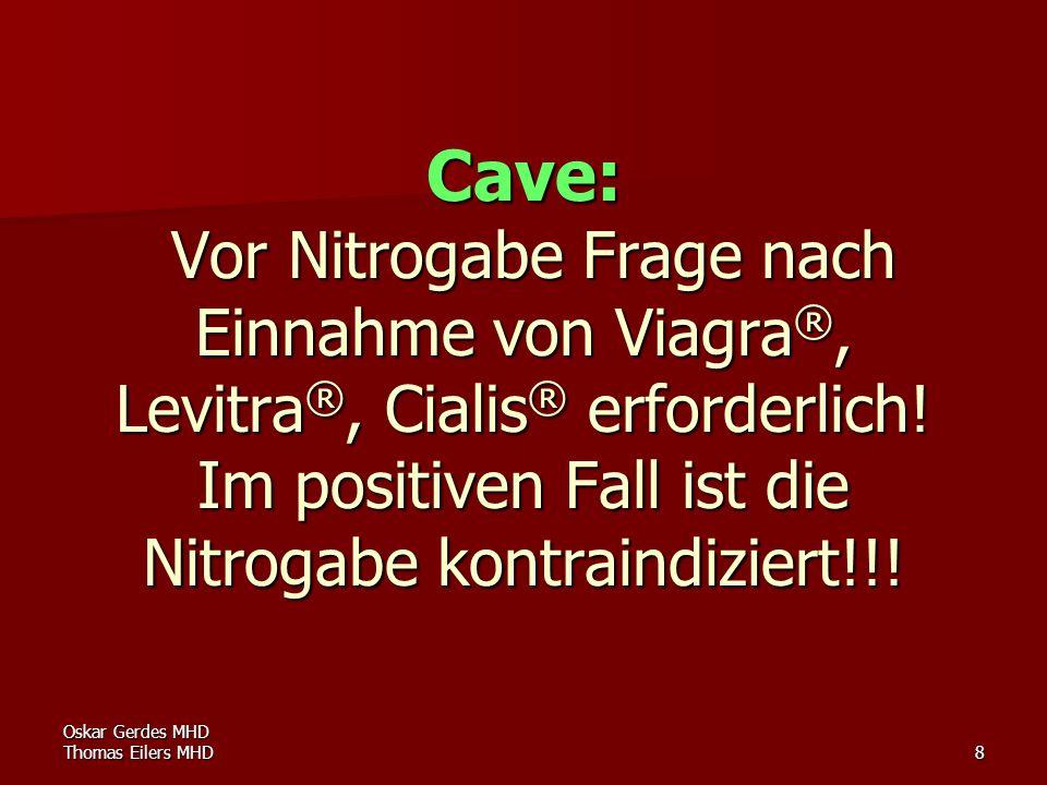 Cave: Vor Nitrogabe Frage nach Einnahme von Viagra®, Levitra®, Cialis® erforderlich! Im positiven Fall ist die Nitrogabe kontraindiziert!!!