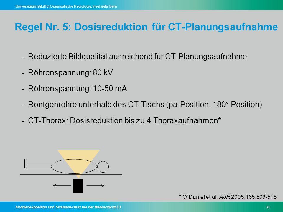 Regel Nr. 5: Dosisreduktion für CT-Planungsaufnahme