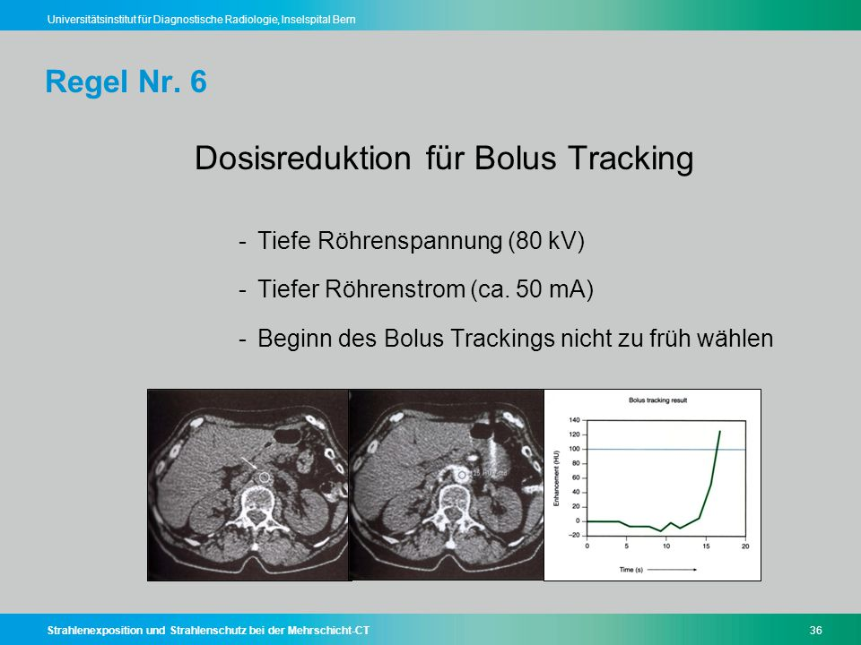 Dosisreduktion für Bolus Tracking