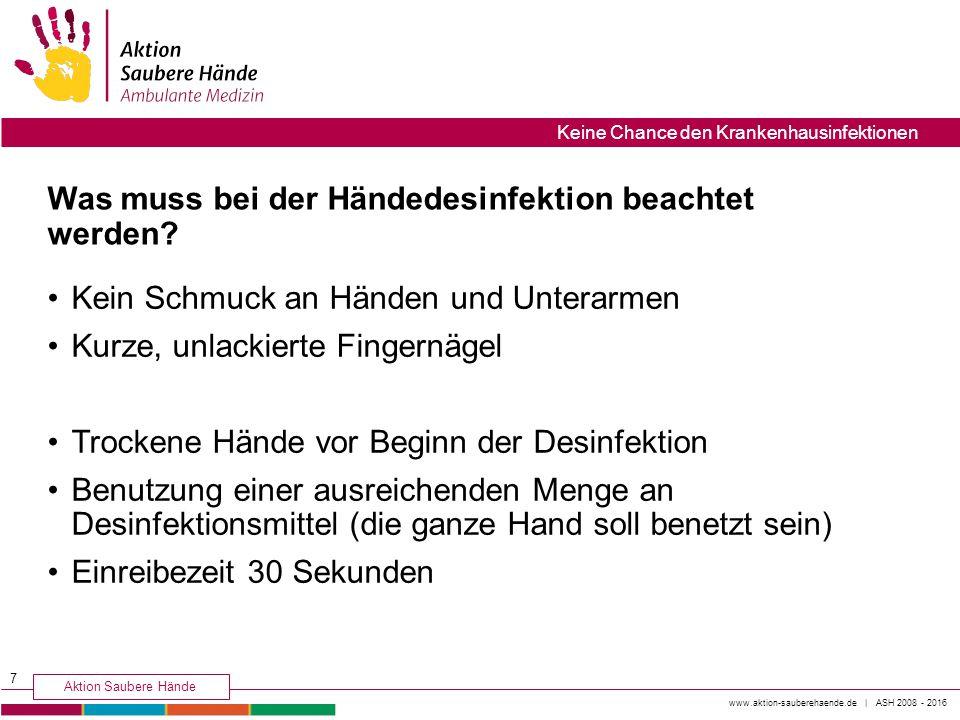 Was muss bei der Händedesinfektion beachtet werden