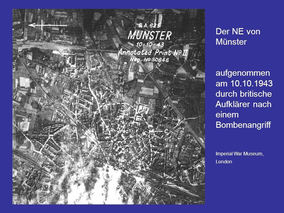 Der NE von Münster aufgenommen am 10.10.1943 durch britische Aufklärer nach einem Bombenangriff.