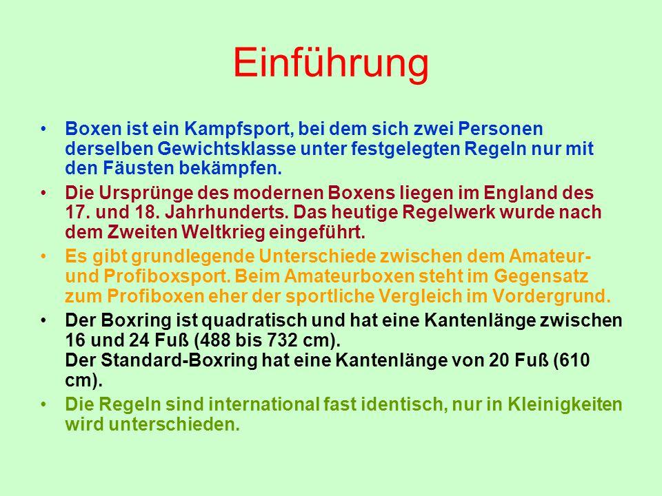 Einführung Boxen ist ein Kampfsport, bei dem sich zwei Personen derselben Gewichtsklasse unter festgelegten Regeln nur mit den Fäusten bekämpfen.
