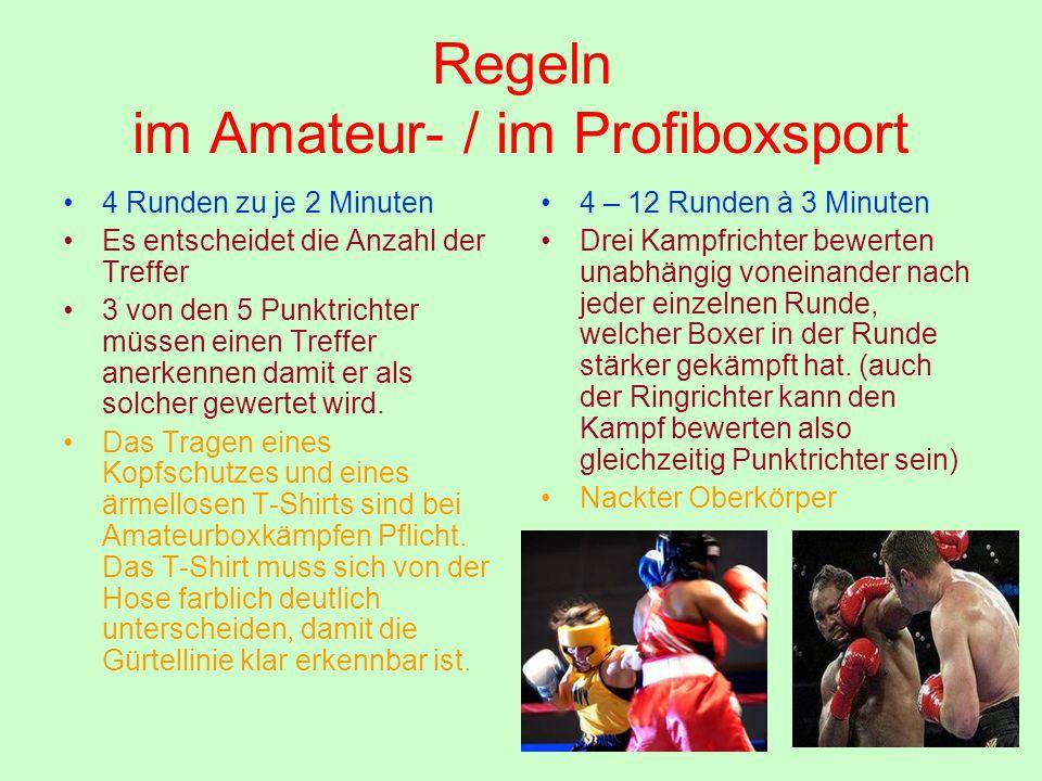 Regeln im Amateur- / im Profiboxsport