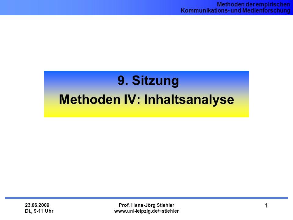 9. Sitzung Methoden IV: Inhaltsanalyse