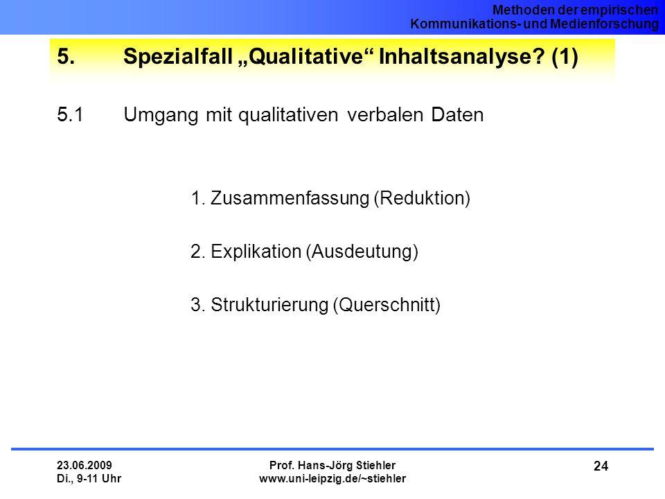"5. Spezialfall ""Qualitative Inhaltsanalyse (1)"