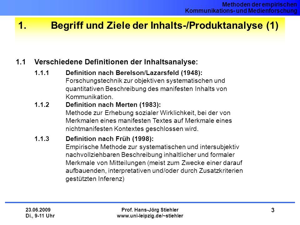 1. Begriff und Ziele der Inhalts-/Produktanalyse (1)