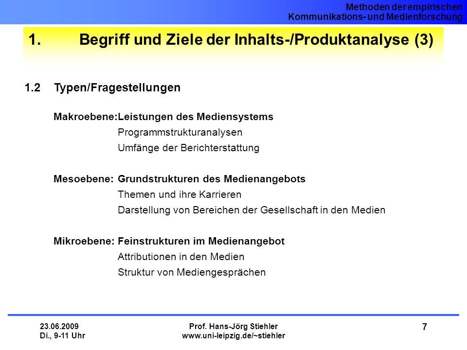 1. Begriff und Ziele der Inhalts-/Produktanalyse (3)