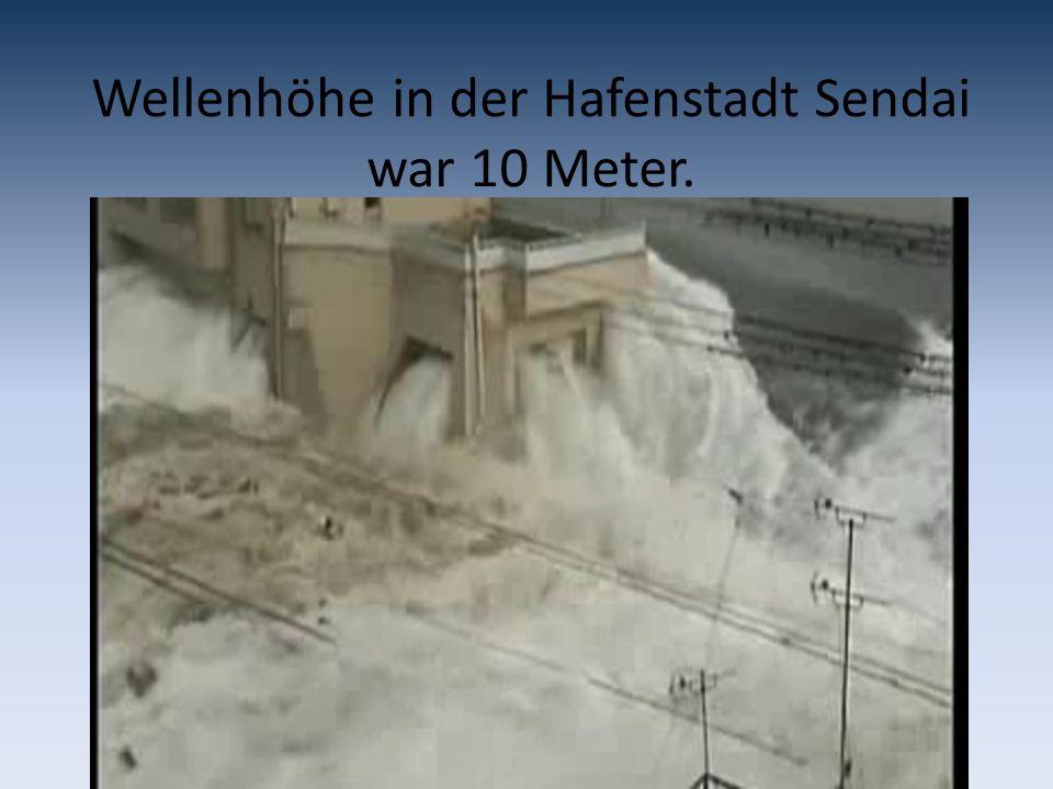 Wellenhöhe in der Hafenstadt Sendai war 10 Meter.