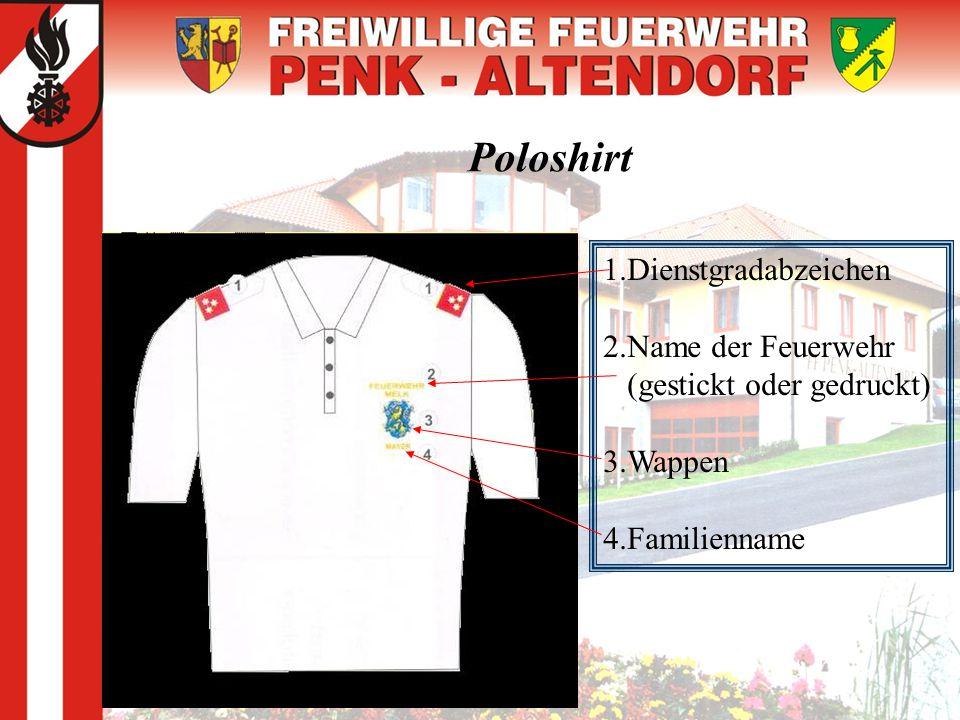 Poloshirt 1.Dienstgradabzeichen 2.Name der Feuerwehr
