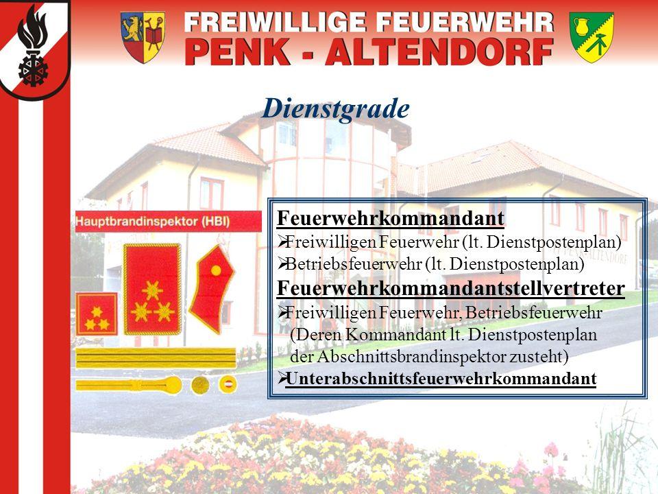 Dienstgrade Feuerwehrkommandant Feuerwehrkommandantstellvertreter