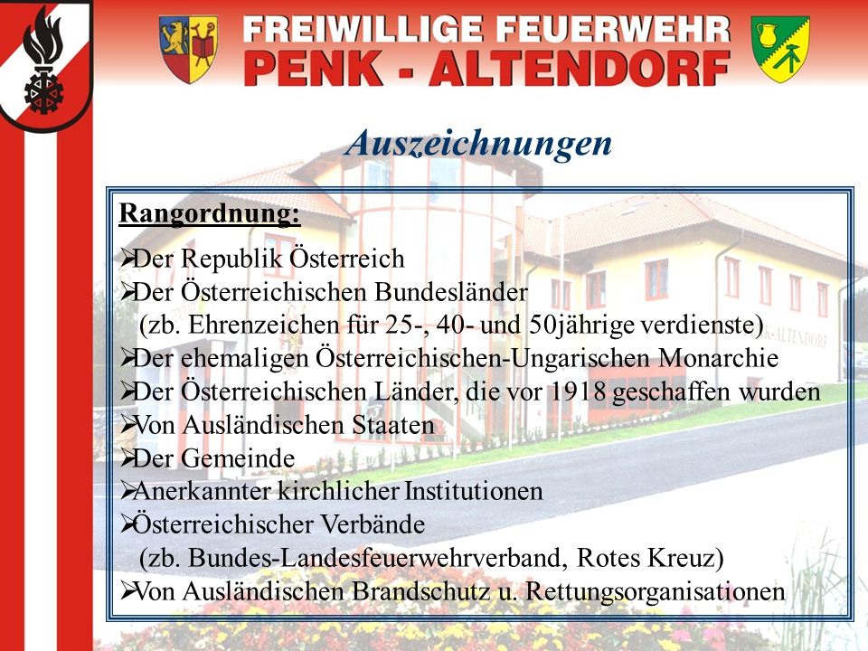 Auszeichnungen Rangordnung: Der Republik Österreich