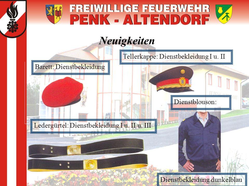 Neuigkeiten Tellerkappe: Dienstbekleidung I u. II