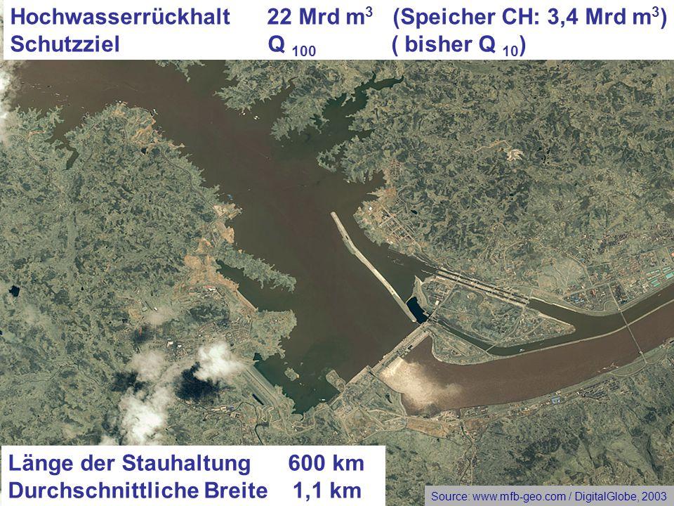 Länge der Stauhaltung 600 km Durchschnittliche Breite 1,1 km