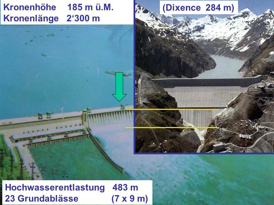 Kronenhöhe 185 m ü.M. (sichtbar ca. 125 m) Kronenlänge 2'300 m
