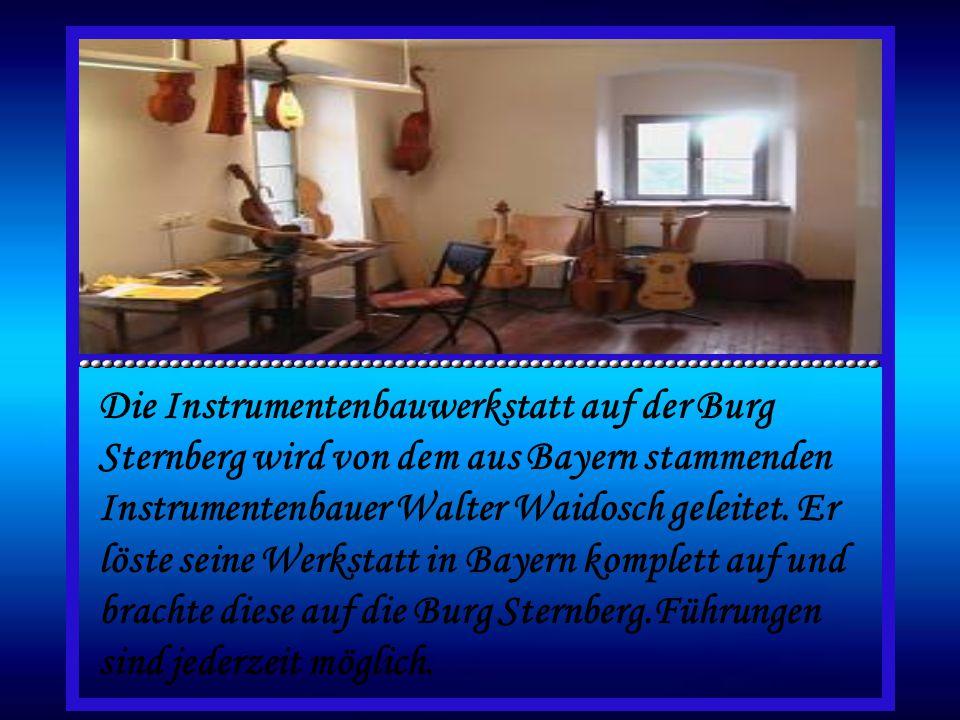 Die Instrumentenbauwerkstatt auf der Burg Sternberg wird von dem aus Bayern stammenden Instrumentenbauer Walter Waidosch geleitet.