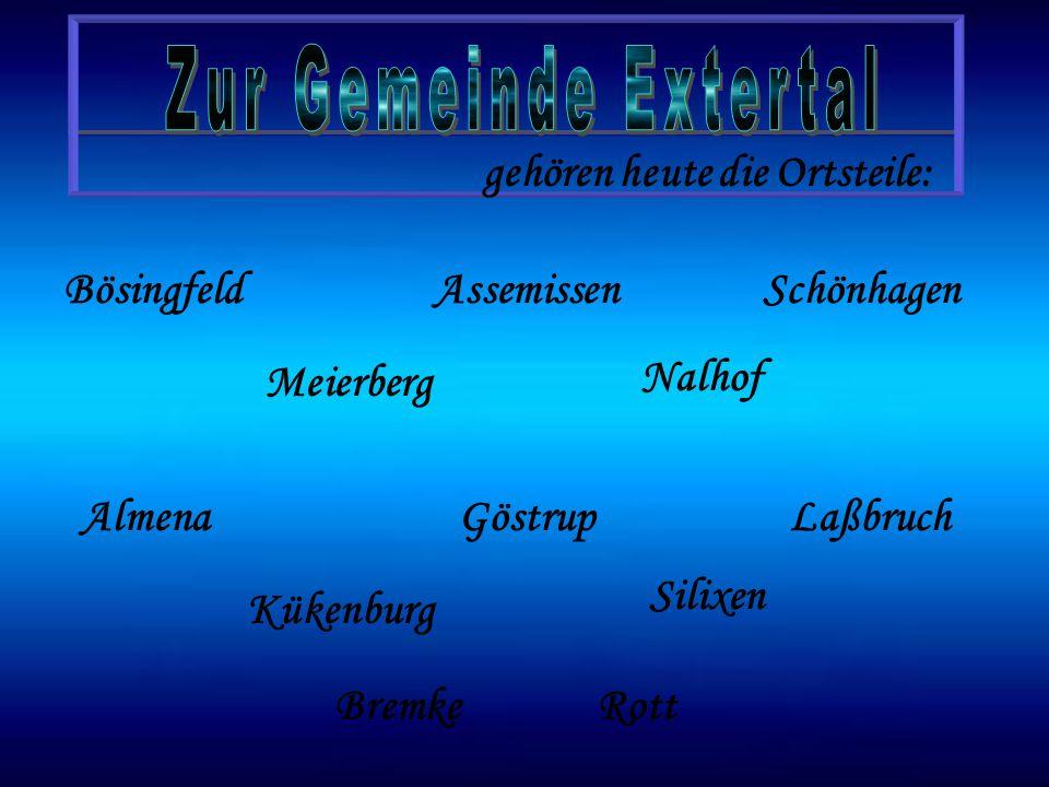Zur Gemeinde Extertal gehören heute die Ortsteile: Bösingfeld