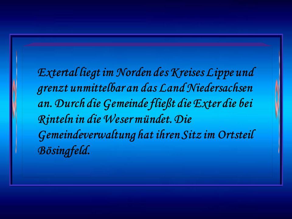 Extertal liegt im Norden des Kreises Lippe und grenzt unmittelbar an das Land Niedersachsen an.