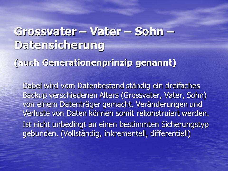Grossvater – Vater – Sohn – Datensicherung (auch Generationenprinzip genannt)