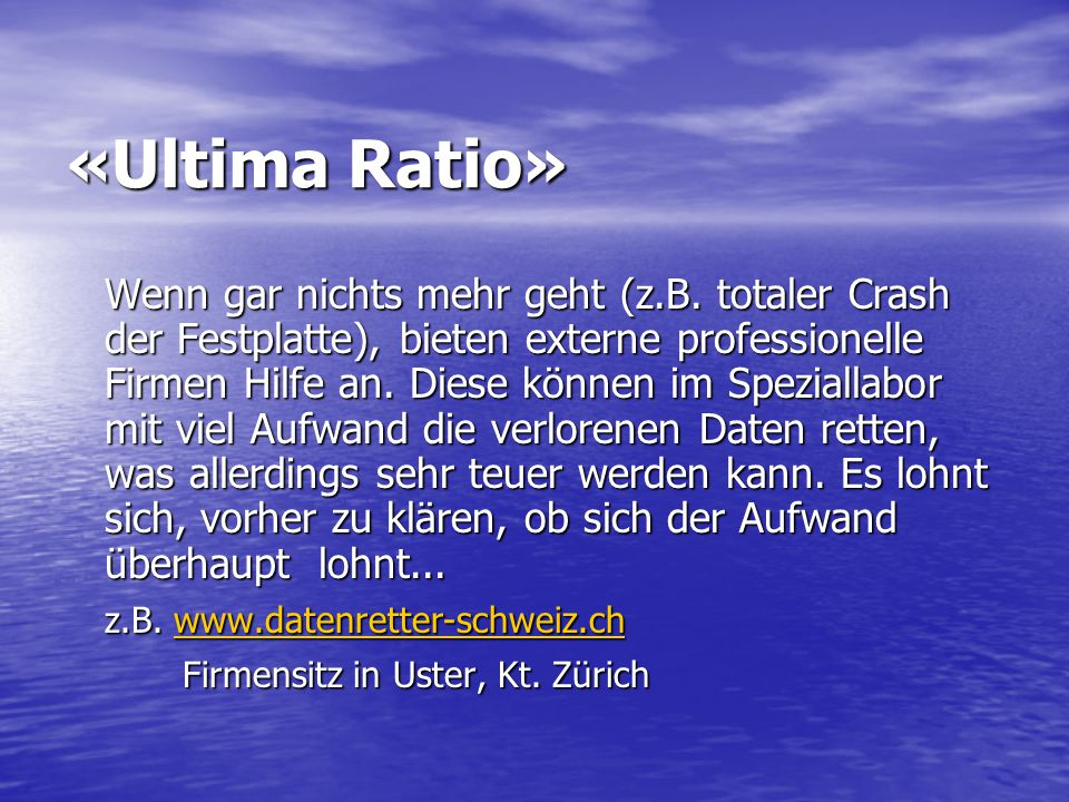 «Ultima Ratio»
