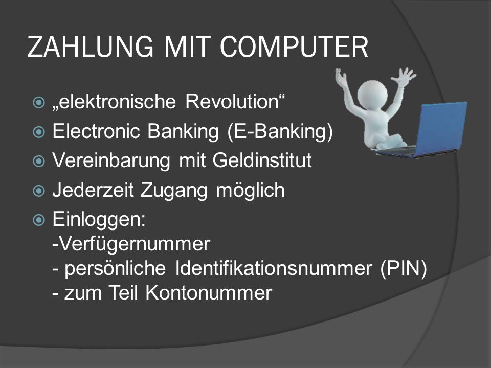 """ZAHLUNG MIT COMPUTER """"elektronische Revolution"""
