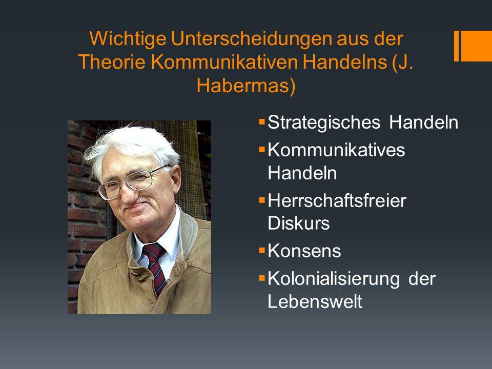 Wichtige Unterscheidungen aus der Theorie Kommunikativen Handelns (J