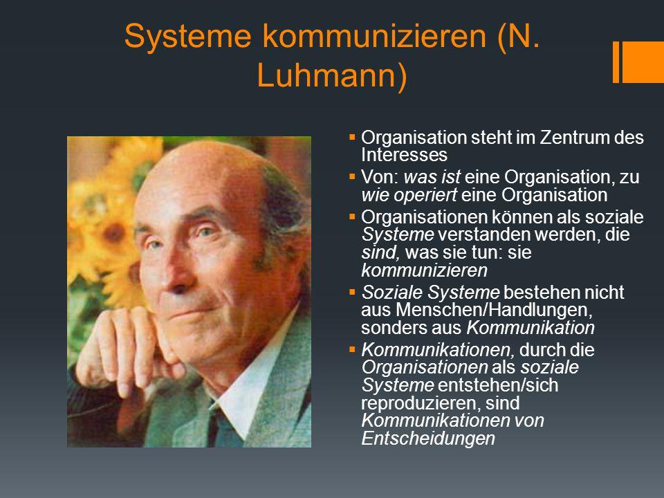 Systeme kommunizieren (N. Luhmann)