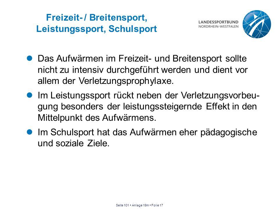 Freizeit- / Breitensport, Leistungssport, Schulsport