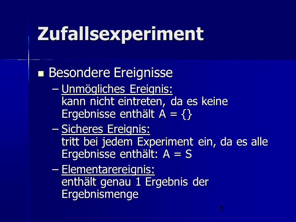 Zufallsexperiment Besondere Ereignisse