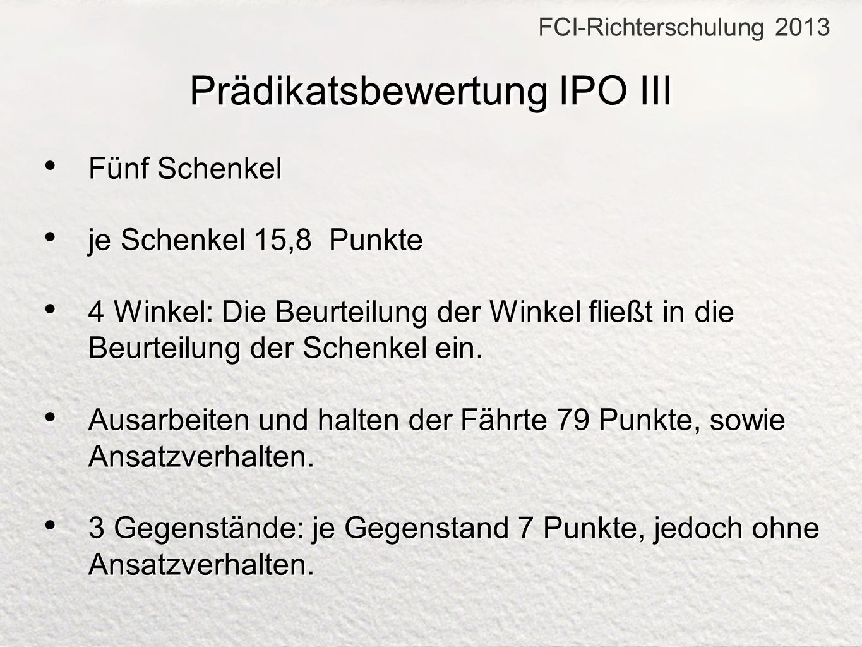 Prädikatsbewertung IPO III