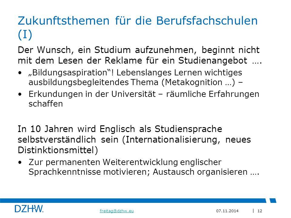 Zukunftsthemen für die Berufsfachschulen (I)