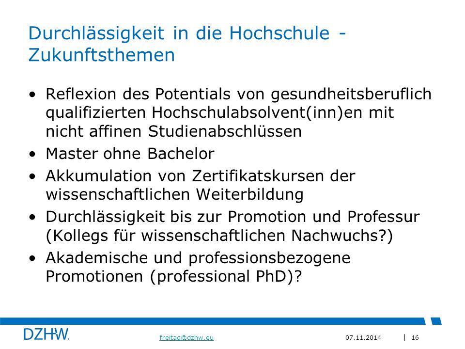 Durchlässigkeit in die Hochschule - Zukunftsthemen