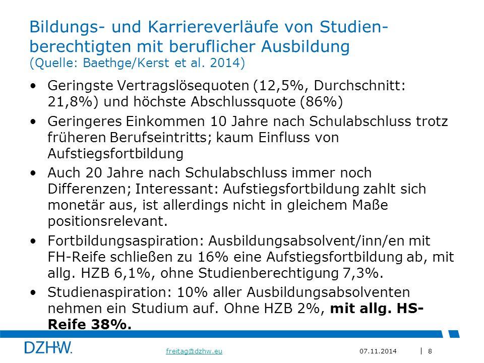 Bildungs- und Karriereverläufe von Studien-berechtigten mit beruflicher Ausbildung (Quelle: Baethge/Kerst et al. 2014)