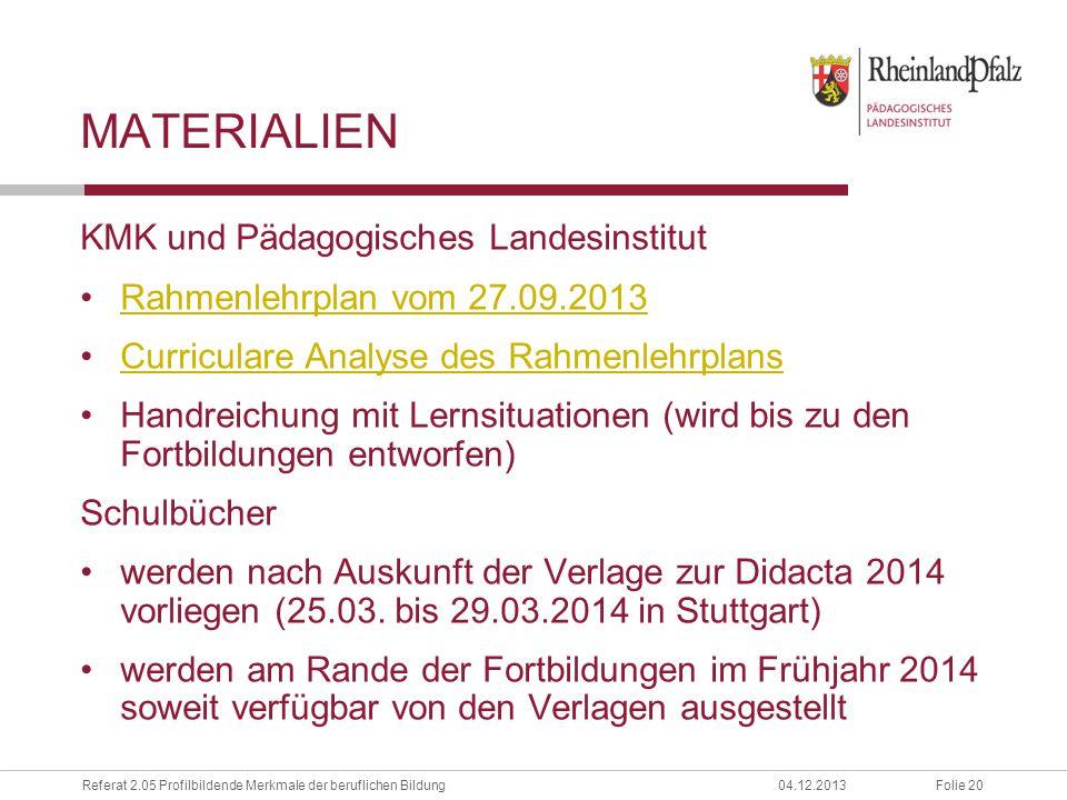Materialien KMK und Pädagogisches Landesinstitut